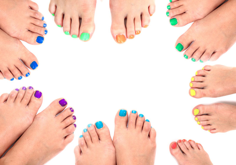An array of perfectly pedicured feet in a circle is but the tip of the toenail for the colour choices at Binh's Nails in Edmonton