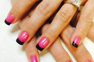 Pink and black fingernails from Binh's