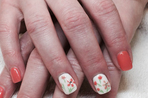 A manicure featuring different looks for every nail is a popular design at Binh's